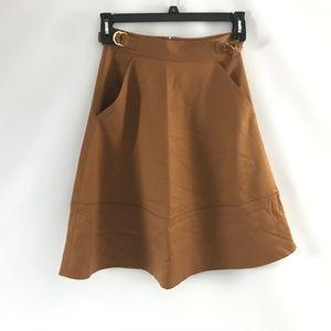 Club Monaco Women's Koree Skirt A-Line Solid Brown